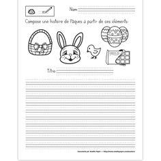 Fichier PDF téléchargeable En noir et blanc seulement 1 page par fichier  L'élève compose une histoire à partir des images données. Téléchargez le bon document en fonction de vos besoins: lignes trottoirs, lignes doubles ou lignes simples.