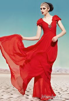 a832fcdc150 Red V-Neck Short Sleeve Beaded Long Evening Dress Ball Gown - Prom Dresses  - Occasions