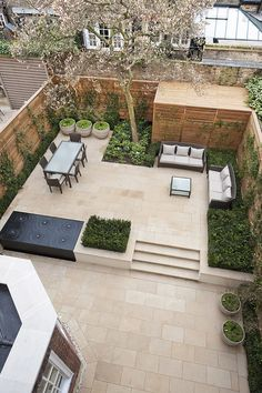 Ideas Concrete Patio Landscaping Ideas Flower Beds For 2019 Small Backyard Landscaping, Backyard Garden Design, Small Garden Design, Rooftop Garden, Patio Design, Backyard Patio, Terrace, Landscaping Ideas, Small Patio