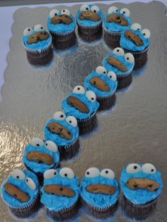 Here it is Jackie! Aiden's party theme. Cookie Monster Cupcakes