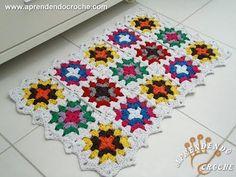 Jogo Banheiro Crochê Squares - Tapete Pia - Aprendendo Crochê