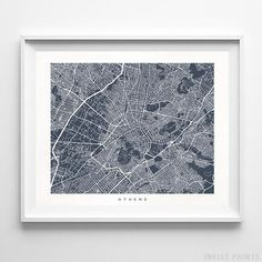 Athens Greece Street Map Wall Art Poster. 70 Color Options. Prices from $9.95. Available at InkistPrints.com - #streetmap #map #homedecor #wallart #Athens #Greece