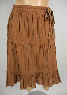 THEORY Brown Skirt S Pleated 100% Cotton Silk Lined Elasticized Drawstring Waist