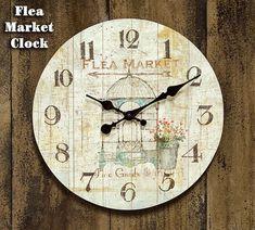 FLEA MARKET Hanging Wall Clock Country Farmhouse Rustic Vintage Primitive #Unbranded #Farmhouse