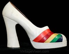 1970s Rainbow Platform Shoes  [OMG! I can hear the soundtrack to these shoes, as they strut down the street...]