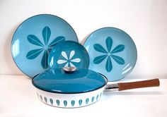 Mid-Century Cathrineholm Lotus Pattern Danish Plates and Lidded Frying Pan