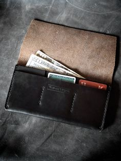 """Nathan"" black handmade leather long wallet by Bas and Lokes"