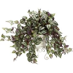 Nearly Natural 18 in. H Green Wandering Jew with Metal Planter Silk Plant 6697 - The Home Depot Artificial Plants And Trees, Fake Plants, Hanging Plants, Indoor Plants, Inside Plants, Indoor Gardening, Indoor Herbs, Gardening Tools, Hanging Baskets