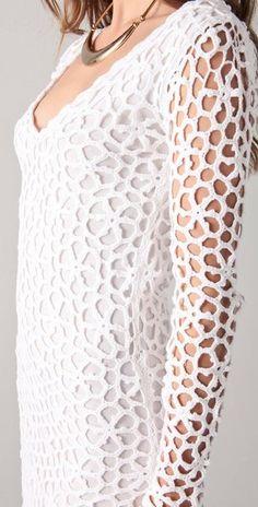 Crochetemoda: Vestido Branco de Crochet XV This.Graphical pattern map for creating thisLovely pattern - Very simple - with diagram Want to do it as a top. Very simple - with diagram. a head turner! Black Crochet Dress, Freeform Crochet, Crochet Cardigan, Irish Crochet, Pull Crochet, Crochet Lace, Crochet Tops, Crochet Flower, Crochet Designs