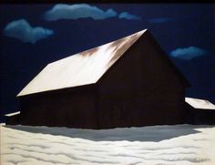 "Another image of coolness and calm for this hot July day. ""January Full Moon"" by George Copeland Ault - copy by gmeador, via Flickr (in the Nelson-Atkins)"