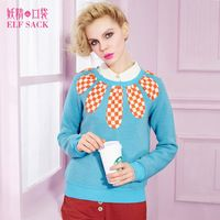 ELF SACK fashion brand new arrival 2015 spring women loose petals pattern plaid patchwork pullover sweatshirt free shipping