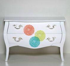 DIY Flower Stencil Dresser for House and Home  #cuttingedgestencils #stencils  #furniture