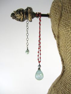 Lisa Chandler Jewelry — 11.5ctw Afghani Aquamarine, Red Coral, Pearl, Sterling Necklace -- One-of-a-Kind (F903)