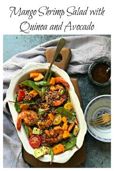 Mango Shrimp Salad with Quinoa and Avocado is a perfect balance of flavors and textures. A salad which can be a complete meal, a side of a larger dinner and even perfect for a weekend cocktail party.    via @monikamanchanda