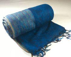Nepalese Hand-Loomed Yak Wool Blanket,Throw,Shawl- Deep Sea Blue & Black w/ Multicolor Borders