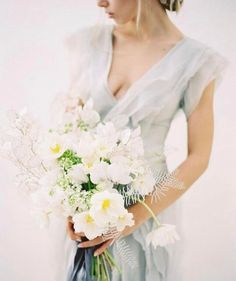 Shop Gossamer dress and lovely white bouquet -- such a great mix!