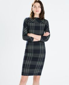 78911cff Zara Plaid Tartan Navy Bodycon Midi Stretch Dress Like new condition. Navy  and green tartan. In this dress You can accentuate your curves in  sophisticated ...