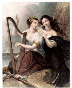 1855 Engraving of Irish harp being played by two women. National Symbol of Ireland.