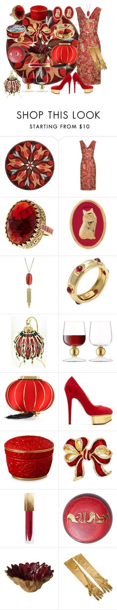 """""""Gilded Celebration"""" by nightnurse0441 ❤ liked on Polyvore featuring Grund, Prada, Ariella Collection, THEATRE PRODUCTS, Kendra Scott, Tiffany & Co., LSA International, Charlotte Olympia, L'Objet and Charter Club"""