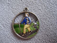"""Antique Enamel Silver German """"Hans in Luck"""" or """"Lucky Hans"""" Brothers Grimm Fairy 