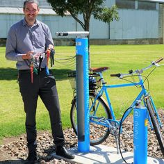 The Cycla Fixit bike repair station has been installed at the Mount Gambier Railway Lands, enabling cyclists to undertake maintenance and repairs at a central and convenient location along the popular Rail Trail shared path. Bike Locker, Bike Pump, Bike Parking, Cyclists, Enabling, Lockers, Trail, Bicycle, Popular
