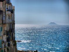 The island-volcano of Stromboli seen from Tropea