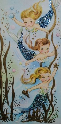 Vintage Mermaid Card, gives me the idea to add glitter to something I print out... #vintagemermaid