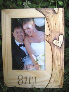DIY wood burnt wedding frame
