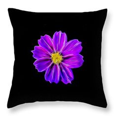 Throw Pillows - Purple Electric Throw Pillow by Pamela Walton