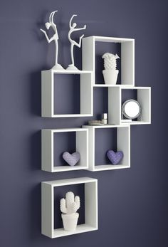 8 Pc Interlocking Cube Wall Shelf Set Cube Wall Shelf