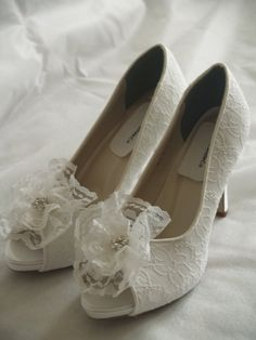 Wedding Shoes White Lace high heels white lace by NewBrideCo