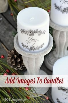Tutorial to easily add a graphic or image to a wax candle using a heat gun.  Instantly makes plain candles look like they were purchased at an upscale boutique!  Make great gifts -http://www.H2OBungalow.com