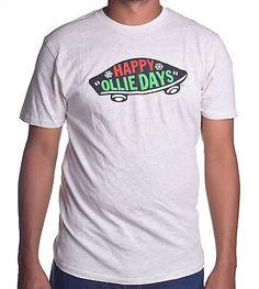 Vans Men's Happy Ollie Days Light Grey Custom Tee Shirt Size Large