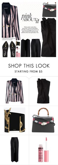 """""""Untitled #2237"""" by anarita11 ❤ liked on Polyvore featuring Balmain, MM6 Maison Margiela, Yves Saint Laurent, Gucci, Joseph and Charlotte Russe"""