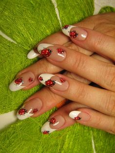 We have gathered here for you some 42 cute ladybug nail art designs that you can go through and choose the best design for yourself. Nail Polish Art, New Nail Art, Fancy Nails, Pretty Nails, Spring Nails, Summer Nails, Ladybug Nail Art, Gel Nagel Design, French Acrylic Nails