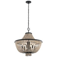 Kichler Brisbane Distressed Black Traditional Chandelier at Lowe's. The Brisbane 6 light linear chandelier features Distressed Black with Distressed Antique White beads. The Brisbane chandelier offers a country Wheel Chandelier, Empire Chandelier, Globe Chandelier, Linear Chandelier, Black Chandelier, Beaded Chandelier, Chandelier Lighting, Pendant Lights, Iron Chandeliers