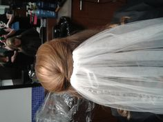 With the veil in just under the half-up detail  wedding hair, veils, curls