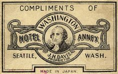 Matchbox label for the Washington Hotel in Seattle | Made in Japan, n.d. | Match World