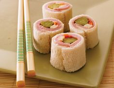 kids and sushi - how cute! Roll a sandwich to look like sushi
