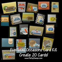 www.PattyStamps.com - new Everyday Occasions card kit to create 20 cards from Stampin Up