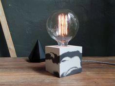 Marbled concrete lamp. Concrete table lamp. by IndustrialRepublic