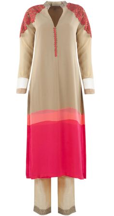 Beige, peach and pink coloured georgette patched kurta set by MANISH MALHOTRA. Shop at https://www.perniaspopupshop.com/whats-new/manish-malhotra-5977