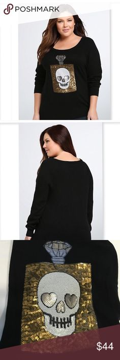 Sequined Skull sweater Sequin skull and perfume bottle sweater. Comfy knit fabric. Dress it up or down!  Torrid plus sizes torrid Sweaters Crew & Scoop Necks