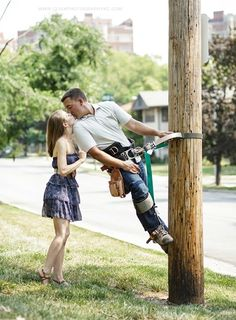 Love my lineman! :) someday  Engagement pictures!
