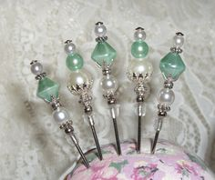 Set of 5 Handmade Mint Green Stick Pins for Cards, Albums, Scrapbook Pages and Crafts