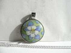 COLUMBINE FLOWER NECKLACE, COLORADO, pendant with a setting in silver color, cable chain, Pendant: in diameter - 1,1 inch