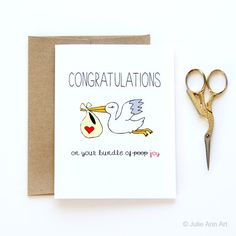 Funny New Baby Card Congratulations On the Bundle by JulieAnnArt