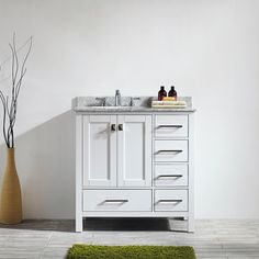 Vinnova Gela 36-inch White Single Vanity with Carrera White Marble Top without Mirror