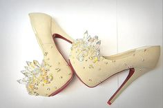 Sexy High Heel Dress Shoes for Party,Prom, - Ivory & Crystal Heels Sexy High Heels, High Heels Stilettos, Shoes Heels, Louboutin Shoes, Hot Pink Heels, Yellow Heels, Gorgeous Heels, Beautiful Shoes, Crazy Heels