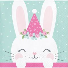 Products The Holiday Aisle Mckee Bunny Party Birthday Beverage Paper Disposable Napkins Bunny Birthday, 1st Birthday Parties, Happy Birthday, Birthday Party Celebration, Pink Birthday, Party Napkins, Napkins Set, Bunny Party, Beverage Napkins